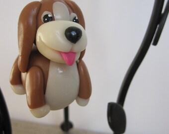 Little guard dog for schoolbag, key, bag... Cold Porcelain