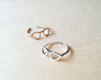 Cute spectacles knuckle ring, gold plated, silver plated, adjustable ring, cute ring
