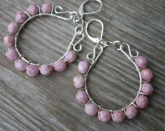 Pink Glass and Silver Hoop Earrings, Pink Czech Glass Earrings, Pink and Silver Earrings