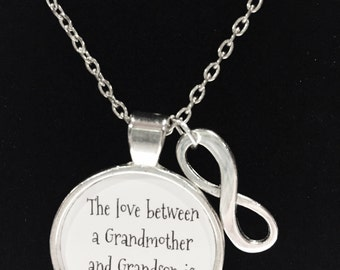 Grandma Gift, The Love Between A Grandmother And Grandson Is Eternal, Valentine Mother's Day Gift Necklace