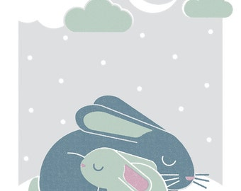 Bunnies, Retro Print, Wall Art, Home Decor