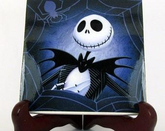 Nightmare before Christmas, Ceramic tile, handmade, Jack Skellington, gothic gift idea, Tim Burton,  mod. 37