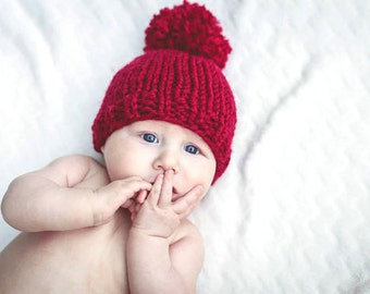 Boys Pom Pom Baby Hat Knit Bobble Hat Newborn Cranberry- Hibiscus Hat