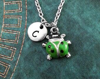 Ladybug Necklace, VERY SMALL Green Lady Bug Necklace, Personalized Necklace, Insect Necklace Monogram Necklace Bug Jewelry Ladybird Necklace