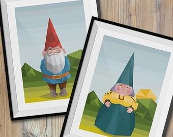 Digital | David and Lisa the Gnome polygonal art