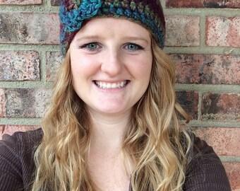 Crochet headband with flower, crochet ear warmer with flower, multicolor