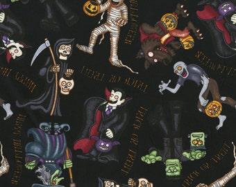 Halloween Fabric, RJR 1979 A Haunting We Will Go, Dan Morris, Mummy, Dracula, Witch, Grim Reaper, Werewolf, Frankenstein, Cotton