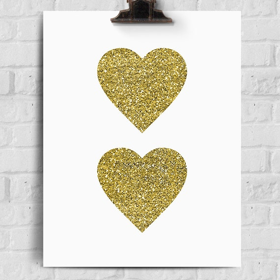 Gold Glitter Wall Decor : Love printable gold glitter hearts wall art by