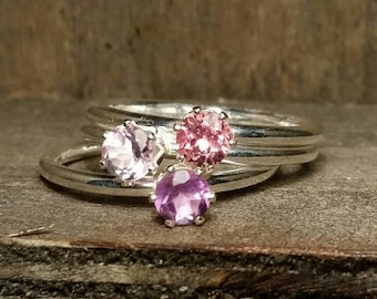 Petite Gemstone Stackable Rings- 4mm Faceted Amethyst, Pink Tourmaline Sterling Silver