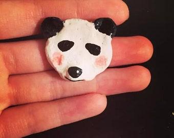 Panda clay brooch