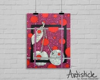 Cherry Art Print - Modern Kitchen Art - Fruit Drawing - Cherries Artwork - Red Pink Art - Geometric Print - Stipple Drawing - Food Art