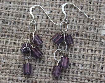 Earrings with purple beads on sterling silver chain and sterling silver ear wire