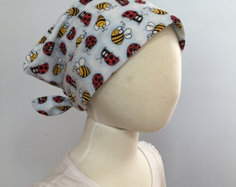 Mia Children's Head Cover, Girl's Cancer Headwear, Chemo Scarf, Alopecia Hat, Head Wrap, Cancer Gift for Hair Loss - Honey Bees