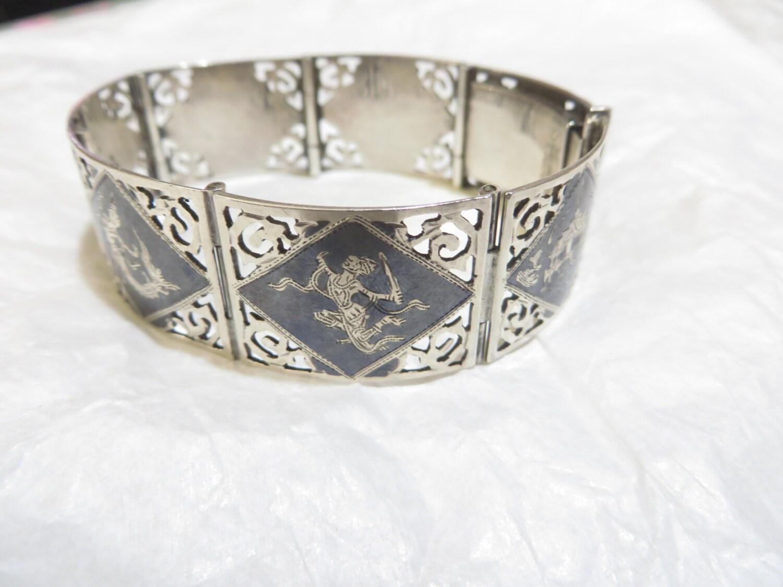 antique sterling silver siam bracelet by postroadestates