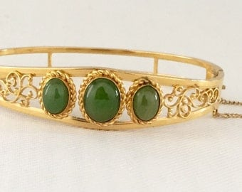 Vintage Van Dell Gold Filled Jade & Filigree Hinged Bracelet: Wedding, Bride, Bridal Jewelry, Maid of Honor, Mother of the Bride