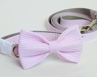 Pink Seersucker Collar and Leash Wedding Set, Flower or Bow Tie, pet bow tie, collar bow tie, wedding bow tie