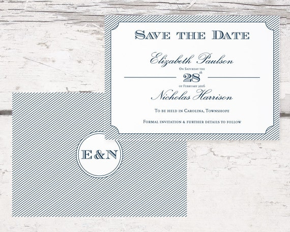 Diy printable wedding save the date template classic navy blue for Diy save the date magnets template