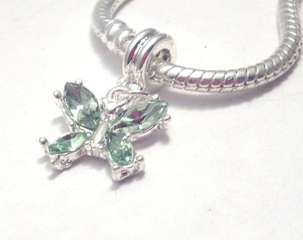 Green Crystal Butterfly European Charm-173B