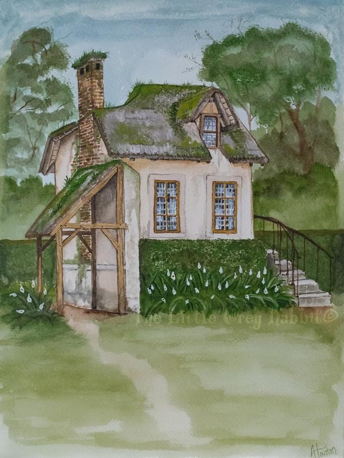 Cottage Art Watercolor Print House Painting Versailles