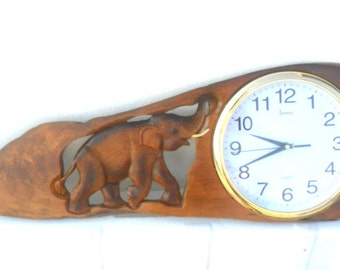"Natural Teak Wood Carving Elephant With Clock Home Decor Wall Hanging Art  wooden Carved Elephant / Gift 34"" X 12"""