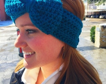 Crocheted Ear Warmer with Bow