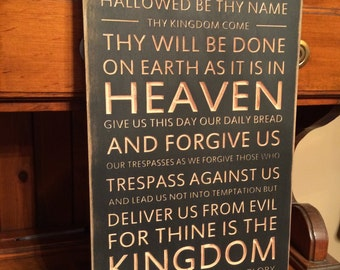 "Custom Carved Wooden Sign - ""Lord's Prayer, Our Father Who Art In Heaven ..."""