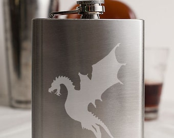Dragon in Flight Customizable Etched Stainless Steel Flask Barware Gift