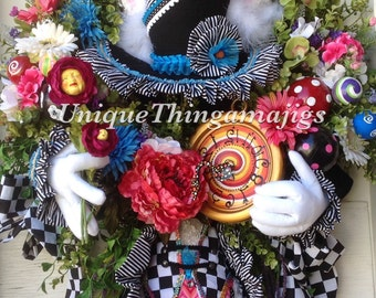 Mad Hatter Rabbit Easter, Spring, Summer, Wonderland Wreath, PRE Order for 2017 delivery!  Please see production time....