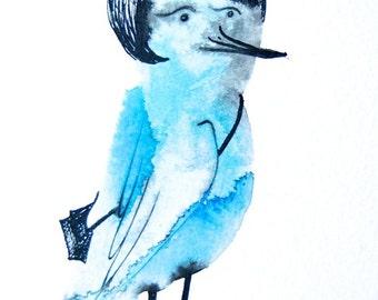 Gift for her, bird art, original drawing, blue bird with a black bag, lady bird