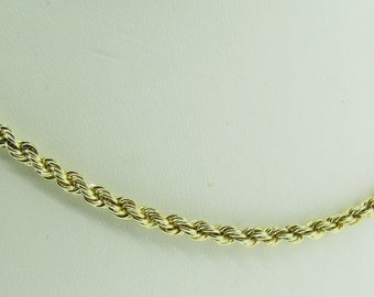 """26"""" long yellow gold rope chain."""