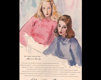 Vogue magazine ad for Elizabeth Arden skin care, art by R R Bouche, matted - Beauty0317