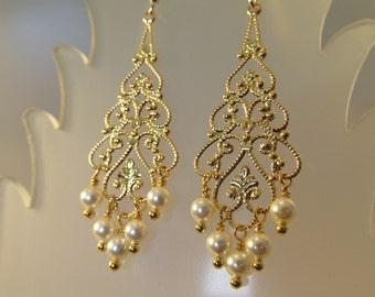 Swarovski Crystal Pearl Earring, Pearl Earring, Pearl Chandelier, Bride Earring, Wedding Earring, Gold Filigree, Bridesmaid, Swarovski, Drop