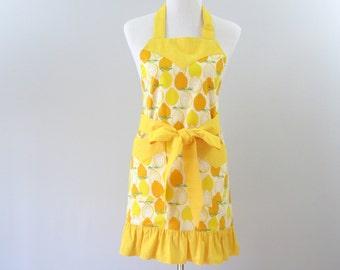 Womens Lemons Apron, Yellow Kitchen Apron, Yellow Ruffled Apron, Plus Size Apron, Lemons Kitchen Decor, Personalized Apron, Apron Gift Mom
