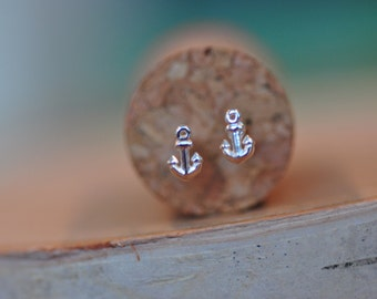 Itty Bitty Tiny Anchor Stud Earrings in Sterling Silver 925