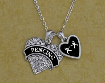 Fencing Heart Necklace with Accent Charm