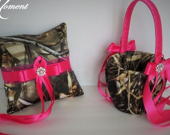 Realtree Camo Hot Pink Wedding Flower Girl Basket Ring