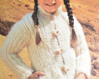 PDF kids chunky toggle cardigan jacket vintage knitting pattern pdf INSTANT download pattern only