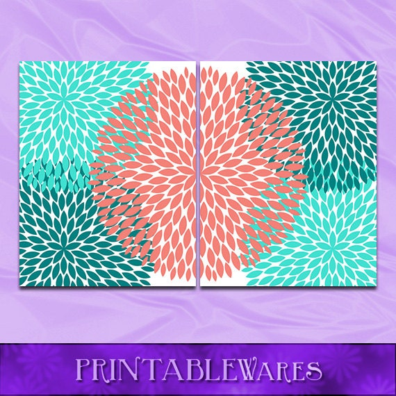 Turquoise Teal Wall Decor : Items similar to coral and turquoise wall art teal