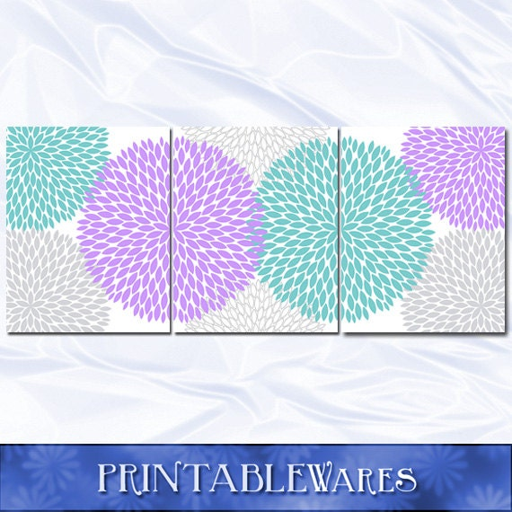 Items Similar To Teal Purple Abstract Flowers Wall Decor: Items Similar To Purple Teal Nursery Decor Wall Art Print