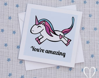 Unicorn You're Amazing Card, Unicorn Just Because Card, Unicorn Note Card, Inspirational Card, Motivational Card, Friend Card