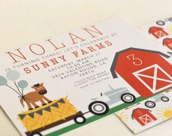 Farm Birthday Invitations Tractor Horse Barn-FREE SHIPPING or DIY printable