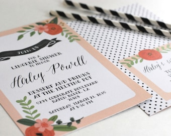 Floral Lingerie Shower Invitations-FREE SHIPPING or DIY printable
