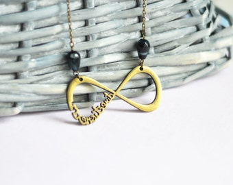 Infinite Love // Necklace metal brass with beads natural agate // 2015 Best Trends // Fashion, Style // Love