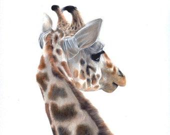 art prints - giraffe art - nursery art prints - giraffe - illustration - zoo animals - 8.5  x 11 inch - A4