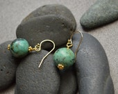 African Turquoise Earrings, Vermeil Daisy Beads and Gold Filled Ear Wires