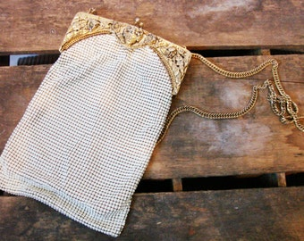 Vintage Whiting and Davis Purse, White Enamel Mesh with gold detail, FREE SHIPPING, Old Hollywood, Accessories, Handbag,