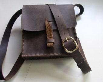 Chocolate Brown Handmade Leather Purse, Handbag, Rustic Small Messenger Bag, with Brass Buckle
