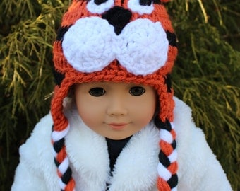 Tiger Animal Hat for an American Girl Doll 18 inch Doll Bitty Baby Doll Character Hat