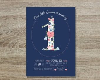 Pink and Navy Birthday Girl Invitation Custom Printable // 5x7 Girl Invite Sweet Floral First Birthday - Floral 1st Birthday Invitation