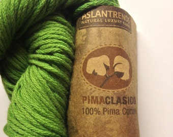Aslan Trends Pima Clasico Solid cotton worsted weight yarn (4784 Online Lime/green)